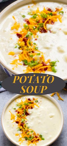 Super easy potato soup recipe with only handful of ingredients. So good and easy! #potatosoup #easysouprecipe #souprecipe Veggie Soup Recipes, Healthy Soup Recipes, How To Make Potatoes, Potato Soup, Perfect Food, A Food, Super Easy, Food Processor Recipes, Favorite Recipes