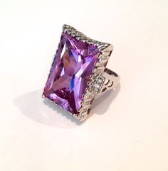 Vintage Sterling Silver Lavender Sapphire and Pave Estate Jewelry Ring by WOWTHATSBEAUTIFUL