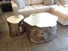 DIY Silver Leaf Stump Table With Spray Paint Love The Art And The - Silver tree stump coffee table