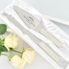 Add a touch of bling and elegance with our Engraved Diamante Stem Cake Serving Set. This serving gift set is the perfect addition to a wedding, engagement or anniversary and will be used and cherished for years to come. Free artwork and fast turnaround. Wedding Cake Toppers, Wedding Cakes, Wedding Cake Knife And Server Set, One Tier Cake, Wedding Messages, Personalized Wedding Gifts, Tiered Cakes, Knives, Groom