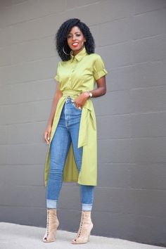 Shirt Dress x High Waist Jeans