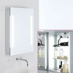 For ground floor shower room Astro Livorno Illuminated Bathroom Mirror Cabinet With Shaver Socket 0637