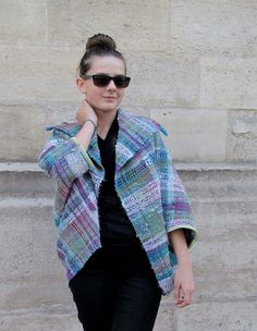 Handwoven saori style jacket made of handspun yarn by RuedelaLaine, €280.00