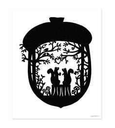 Squirrel Loves Acorn - Black and White Paper Cut Silhouette Squirrels Heart Acorns Nestled in the Woods. via Etsy.