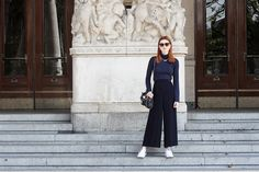 Hannah L. - Navy Wide Leg Trousers