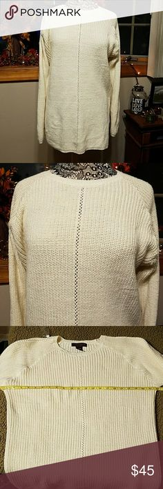 """Yarnworks sweater Yarnworks sweater extra long with slits in sides. Approximate measurements shown in pics with the length at around 28"""". This will keep you warm and looks great with jeans or leggings. Yarnworks Sweaters Crew & Scoop Necks"""