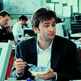David Tennant, eyebrows and eating. You're welcome. LOL!
