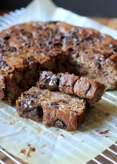 Paleo Chocolate Chunk Banana Bread #chocolate #bread #paleo