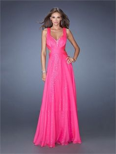 Sexy A-line V-neck Sequins Crisscross Back Chiffon Prom Dress PD2539