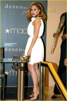 Jennifer Lopez (in Fendi) launches her new fragrance 'Deseo For Men' at Macy's Herald Square in New York City on Monday.