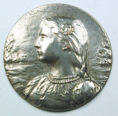 Old French Metal Button Joan of Arc Design