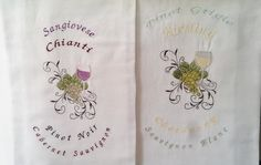 Towels White Flour Sack Towels Embroidered by IdleTymeCreations