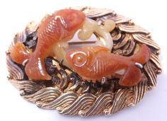 Lovely Chinese export gilt silver brooch set with carved jade fish - ca. mid twentieth century.