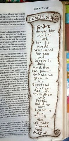God's word is food for the soul Bible Journaling Ezekiel 3 devour the Word of the God for his Faith Bible, My Bible, Bible Art, Bible Scriptures, Bible Quotes, Bible Study Journal, Scripture Study, Scripture Journal, Art Journaling