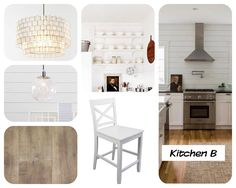 """A collection of FAV pictures for a """"farmhouse glam"""" look for my kitchen. Target white barstools, West Elm Capiz Chandelier, West Elm Glass Globe Pendants, White floating shelves. No upper cabinet kitchen Ahousefromscratch.blogspot.com"""
