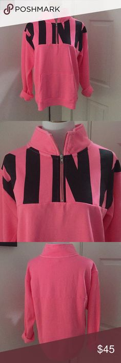 PINK Sweatshirt Pink and black with a zipper in the front PINK Tops Sweatshirts & Hoodies