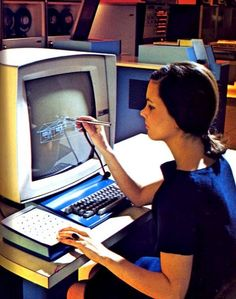 Computer Aided Design by means of a stylus operated touch screen 1970s. You had to input numbers for the 3D drawings and write a program in order to make blocks.