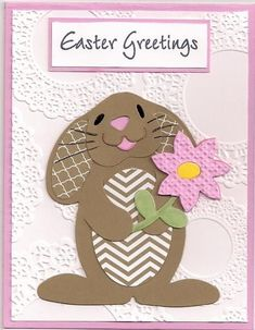 handmade Easter card:  Greetings by bmbfield ... adorable bunny ... paper pieced ... luv how she used printed papers in the same kraft color to make inside of ears and belly ... delightful card!! ...