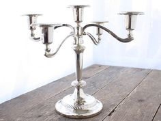 French Vintage Chrome-plated 5 sconce Candelabra   Candlestick in the Library