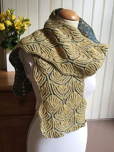 Goldwork brioche scarf -- knitting pattern by Nancy Marchant