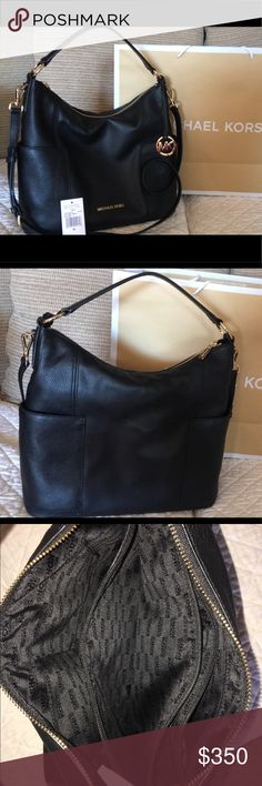 MK Black Large shoulder bag More than EUE (New with detached tags) Only carried one week Bought another and don't use this No trades Gold hardware MICHAEL Michael Kors Bags Shoulder Bags
