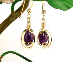 Amethyst Small Gold Earrings Dark Purple by LeesEarringBoutique, $50.00 #jewelryonetsy