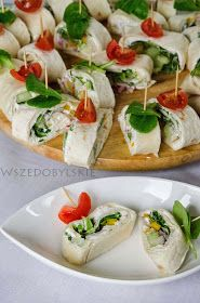 Wszędobylskie: Wiosenne roladki z tortilli. Appetizer Buffet, Appetizers, Aga, Caprese Salad, Bruschetta, Baked Potato, Catering, Food And Drink, Mexican