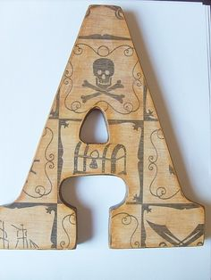 Pirate Wall Letter A pinned with Bazaart