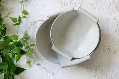 Ceramic nesting set white Ceramic Serving Bowls by FreeFolding