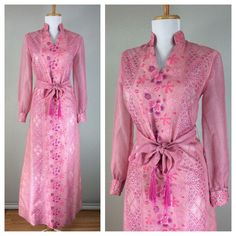 Vintage 1960s Alfred Shaheen Pink Purple Silver Floral Maxi Dress M | eBay