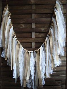 5 ft Rustic lace garland, burlap garland, rag bunting, home decor, Silver Garland, Burlap Garland, Fabric Garland, Burlap Lace, Ribbon Garland, Hessian, Wedding Props, Garland Wedding, Decor Wedding