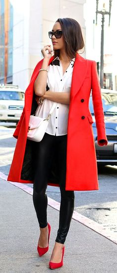 #street #style fall / red coat