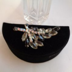 Vintage Black and Gray Vintage Authentic Juliana Aurora Borealis Rhinestone Three Inch Brooch from my Jewelry Box. Free Shipping to the United States.