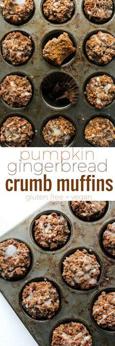 Healthy Pumpkin & Gingerbread Crumb Muffins with an optional maple icing glaze   Gluten Free + Vegan + Refined Sugar Free