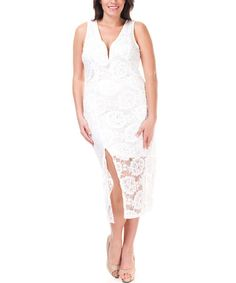 Another great find on #zulily! Ivory Lace Overlay Midi Dress - Plus #zulilyfinds