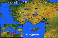 Map of Paul's First Missionary Journey ~ website with tons of maps and Bible history. Maps printable and will show modern day places as well.