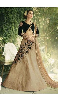 Beige Jacquard And Velvet Lehenga with Olive Green Velvet Choli - DMV11126