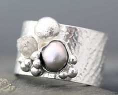 Raw Diamond and Steel Grey Pearl in Textured Sterling Silver Ring - another similar setting