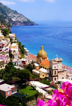 Beautiful View of the town of Positano with flowers, Amalfi Coast, Italy