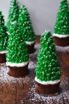 Christmas Tree Cupcakes Recipe from justataste.com