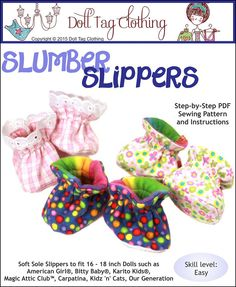 """Slumber Slippers 18"""" Doll Shoes"""