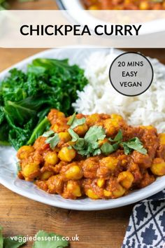 This super-tasty vegan Chickpea Curry is easy healthy and absolutely delicious! The tasty curry sauce is so easy to make. Plus it's so quick and simple that it's perfect for a midweek meal. Vegan Dinner Recipes, Vegan Dinners, Indian Food Recipes, Vegetarian Recipes, Healthy Recipes, Chickpea Recipes, Dinner Healthy, Turkish Recipes, Easy Chickpea Curry