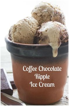 Coffee Chocolate Ripple Ice Cream, a yummy creamy no churn Ice Cream recipe. Made with condensed milk + 3 delicious ingredients. A fast and easy homemade Summer Dessert treat. by kathrine Ice Cream Treats, Ice Cream Desserts, Frozen Desserts, Ice Cream Recipes, Fun Desserts, Delicious Desserts, Frozen Treats, Yummy Ice Cream, Ice Cream Maker