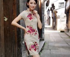 Items similar to Vintage Peony Cheongsam on Etsy Cheongsam Modern, Cheongsam Dress, Oriental Fashion, High Neck Dress, Peony, Style Inspiration, Elegant, Formal, Trending Outfits