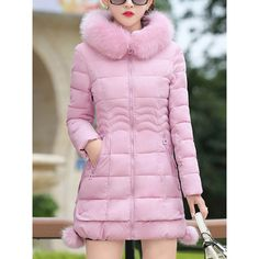 Hooded Pocket Quilted Plain Coat (160 BRL) ❤ liked on Polyvore featuring outerwear, coats, hooded coat, long pink coat, pink hooded coat, long coat and pink coats
