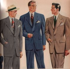 Mens 1940s fashion centered around the suit. From the jacket, pants, vest, shirt , tie, hat and shoes each clothing item was unique with 1940s style.