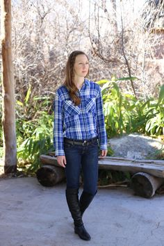 Casual Fall - Winter Outfit | plaid flannel shirt, skinny jeans, over the knee boots | See more outfit ideas here: http://www.amodernmomblog.com
