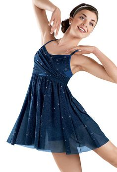 Glitter Mesh Cross Front Dress -Weissman Costumes My solo costume!
