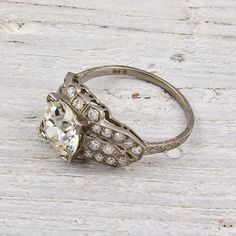 Old EuropeanCut 206 Diamond Engagement Ring by ErstwhileJewelry, $22000.00