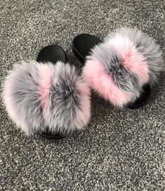 9a90ac2b0ef Icepop Fox Fur Slides Cute Shoes Heels